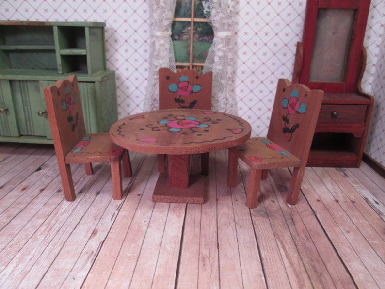 Tavoli E Sedie Stile Vintage.Dollhouse Vintage Mobili Contadino Stile Cucina In Legno Etsy