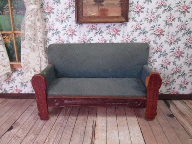antique dollhouse furniture settee sofa made in germany etsy. Black Bedroom Furniture Sets. Home Design Ideas