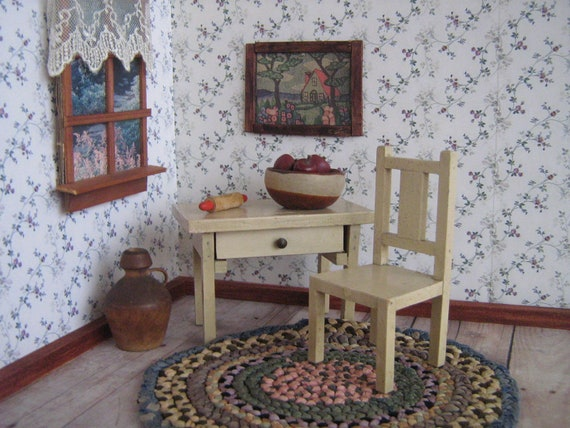 Vintage Wooden Dollhouse Furniture Kitchen Work Table Or Etsy