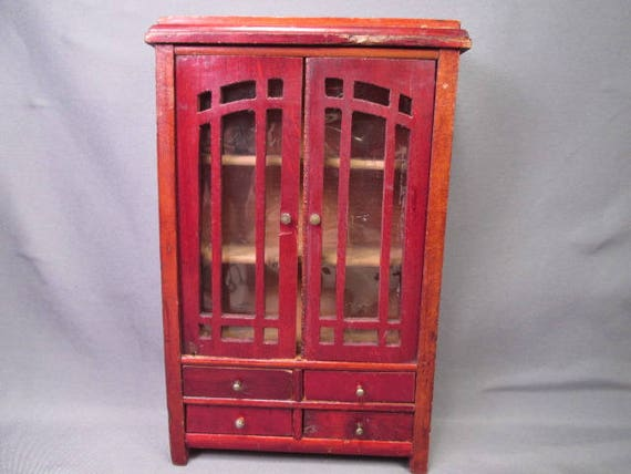 image 0 - Antique German Dollhouse Furniture Schneegas Red Lacquer Etsy