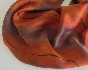 Brown Silk Scarf, Hand Painted Brown Silk Scarf, Hand Painted Cinnamon Brown Silk Scarf, Large Silk Scarf, Autumn Colors, Brown Scarf, OOAK