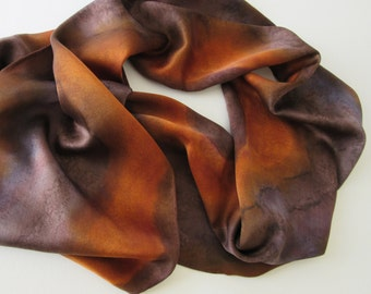 Brown Silk Scarf, Hand Painted Brown Silk Scarf, Brown Sienna Silk Scarf, Brown Scarf, Hand Painted Silk Scarf, Gift For Her, Autumn Colors