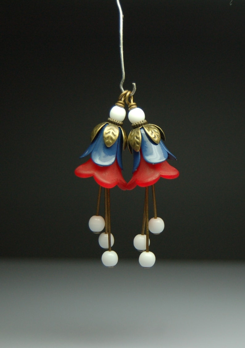 Vintage Style Bead Dangles Red White and Blue Enamel and Lucite Flowers Pair R49