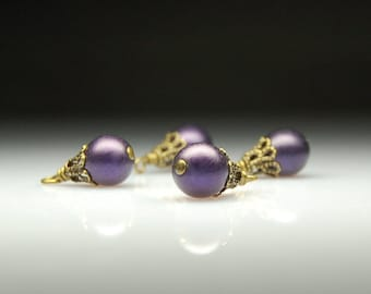 Vintage Style Bead Dangles Dark Purple Glass Pearls Set of Four PR116