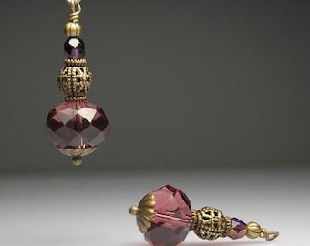 Vintage Style Bead Dangles Amethyst Purple Glass Pair PR0098
