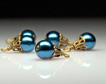 Bead Dangles Vintage Style Teal Blue Glass Pearls BL148