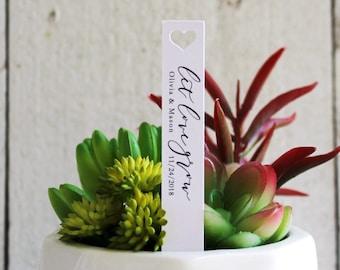 Let Love Grow Succulent Tag | Succulent Stakes | Wedding Favors | Bridal Shower Favor | Plant Stakes | Succulent Favor | Favor Tags (S007)