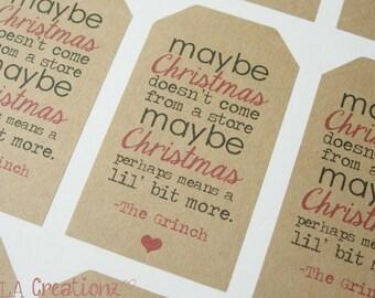 12 Modern Christmas Grinch Saying Kraft Gift Tag Stickers - Christmas Stickers - Favor Stickers (12)