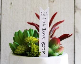 Let Love Grow Succulent Tag | Succulent Stakes | Wedding Favors | Bridal Shower Favor | Plant Stakes | Succulent Favor | Favor Tags (S013)