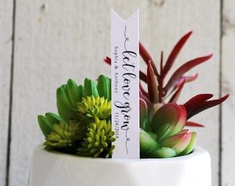 Let Love Grow Succulent Tag | Succulent Stakes | Wedding Favors | Bridal Shower Favor | Plant Stakes | Succulent Favor | Favor Tags (S010)