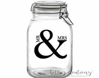 Mr & Mrs Stickers | Clear Stickers | Wedding Stickers | Mason Jar Stickers | Clear Wedding Stickers | Wedding Favor Stickers | DIY Wedding