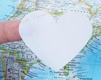 Jumbo White Heart Stickers - Envelope Seals - Wedding Stickers - Bridal Shower Stickers - Baby Shower Stickers - Favor Stickers (15)
