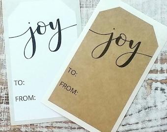 12 Modern Joy Stickers - Christmas Stickers - Favor Stickers - Tag Stickers  - Kraft or White Stickers (12)
