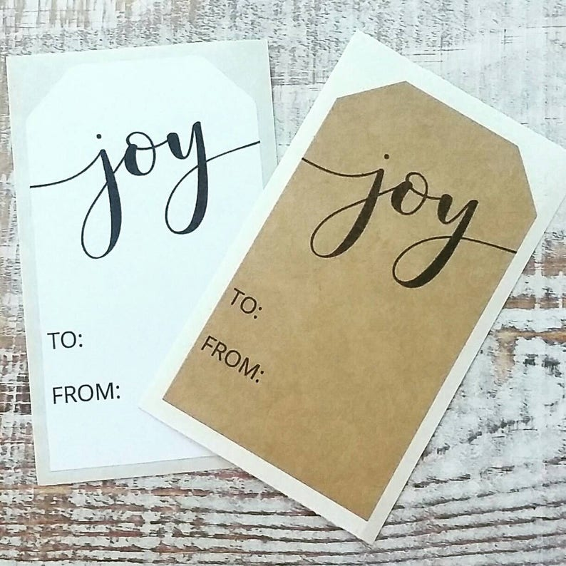 12 Modern Joy Stickers  Christmas Stickers  Favor Stickers  image 0