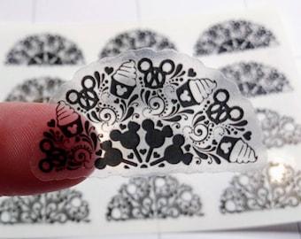 Clear Mouse Half Mandala Stickers -  Half Mandala Planner Stickers