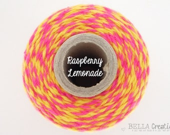 SALE - Pink and Yellow Bakers Twine - Raspberry Lemonade by Timeless Twine