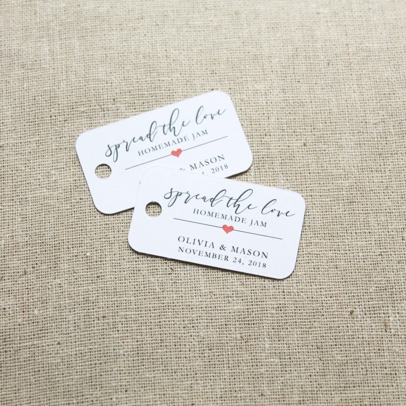 Spread the Love Tags   Jam Favor Tags  Wedding Favors  image 0