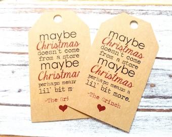 12 Modern Christmas Grinch Saying Kraft Gift Tags - Christmas Tags - Favor Tags  - Grinch Quotes - Grinch Gift Tags -(12) (CH002)