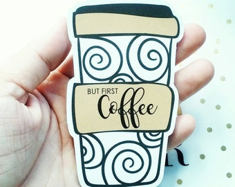 But First Coffee Jumbo Magnetic Bookmark - Coffee Planner Clip - Jumbo  Bookmark