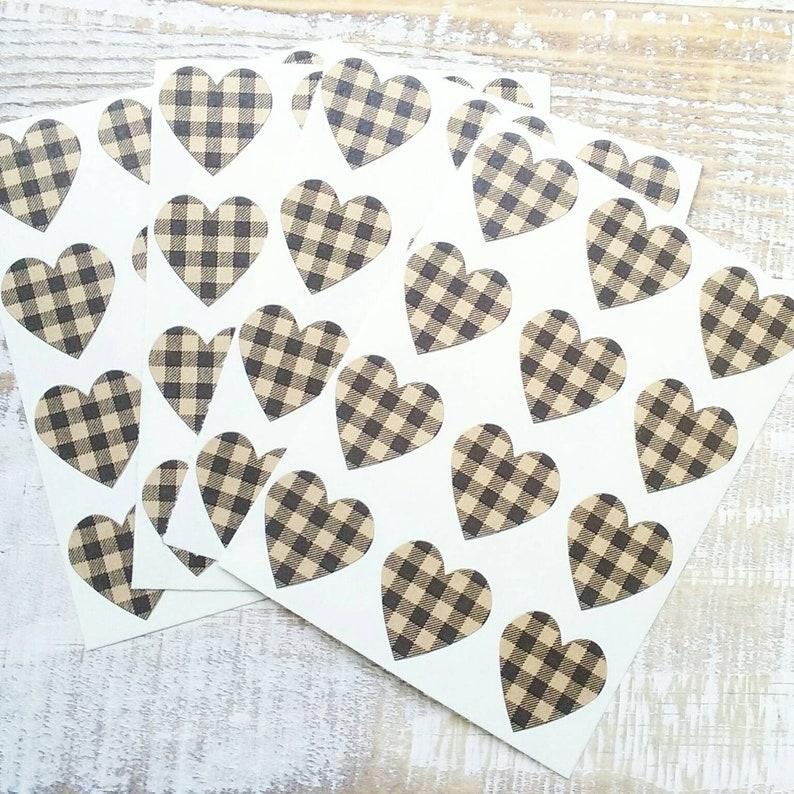 Buffalo Plaid Heart Stickers  Envelope Seals image 1