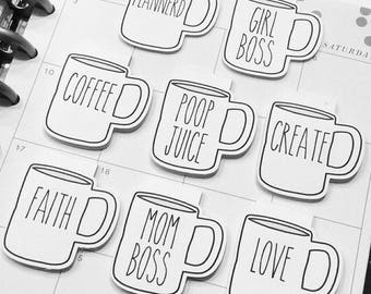 CUSTOM Coffee Mug Magnetic Bookmark - Coffee Cup - Planner - Planner Clips