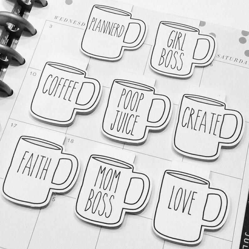 CUSTOM Coffee Mug Magnetic Bookmark  Coffee Cup  Planner  image 0