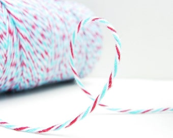 SALE - Aqua Blue and  Red Bakers Twine by Timeless Twine