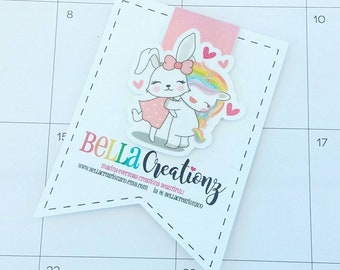 BFF Bunny and Unicorn Magnetic Bookmark - Planner Clip