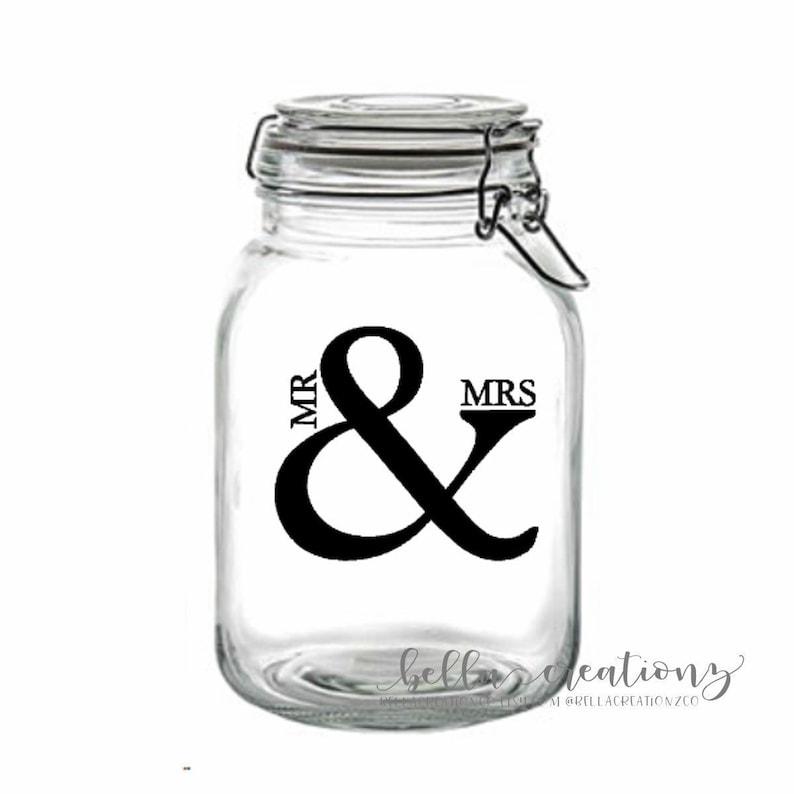 Mr & Mrs Stickers  Clear Stickers  Wedding Stickers  Mason image 0