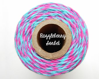 SALE - NEW Aqua Blue and Pink Bakers Twine by Timeless Twine - Razzleberry Sorbet