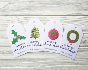 Tropical Christmas Gift Tags - Christmas Tags - Personalized Gift Tags (CH001)
