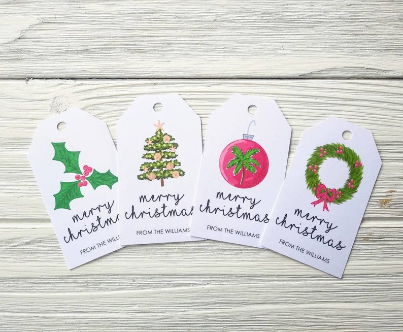 Tropical Christmas Gift Tags  Christmas Tags  Personalized image 0
