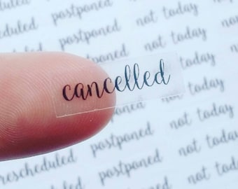 Clear Cancelled Stickers - Clear Reschedule Stickers - Clear Postponed Stickers - Clear Not Today - Planner Stickers
