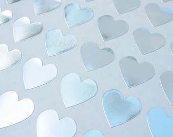 Silver Heart Stickers - Envelope Seals