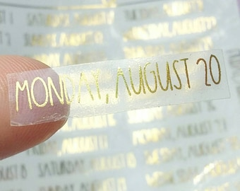 Foiled Gold August Date Stickers Clear- Clear Monthly Stickers - Undated Planner Stickers - Planner Stickers || (Set of 30 total)
