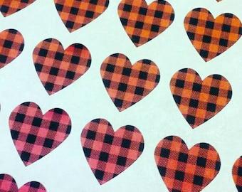 Buffalo Plaid Heart Stickers - Envelope Seals