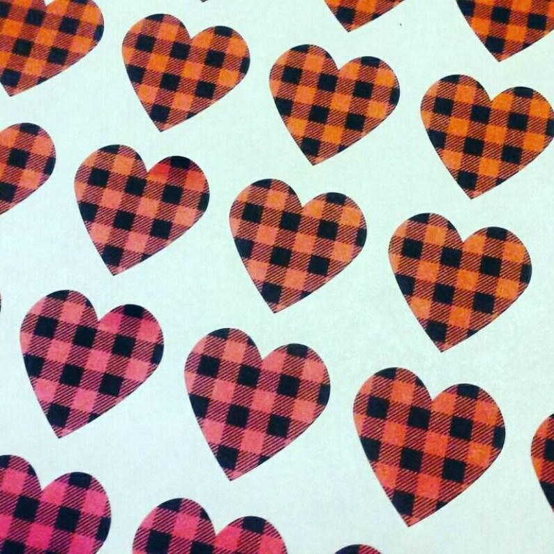 Buffalo Plaid Heart Stickers  Envelope Seals image 0