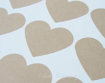 Jumbo Kraft Heart Stickers - Envelope Seals