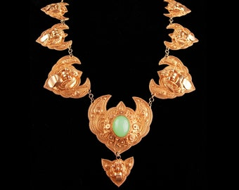 Antique demon queen Necklace - Rangda panels - gold etruscan necklace - Balinese Goddess jewelry - statement necklace -chinese bat