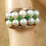 Reserved for Crystal Vintage Edwardian 14kt rose gold Ring Emeralds & Pearls Size 5 1/2 antique Victorian jewelry 20th 55th wedding