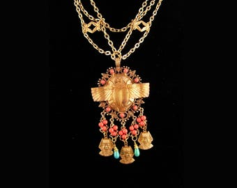 Fabulous  Egyptian necklace / winged golden Scarab / HUGE Ormolu tassel drop / vintage statement jewelry / King tut  / cleopatra's delight