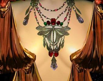 Reserved for Nadia...Dramatic Art Nouveau necklace HUGE chandelier  Dragonfly centerpiece Rhinestones Vintage czech glass statement piece