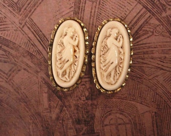 Vintage Art Nouvueau Goddess Cameo Earrings