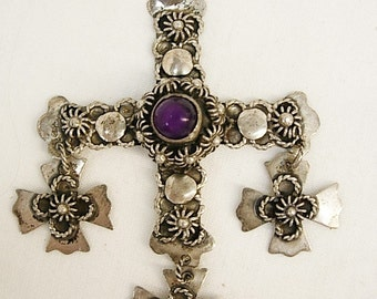 VIntage Wedding Necklace maltese cross signed sterling amethyst gothic Lamb  of GOd