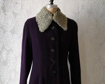 Vintage Design Women's Wool Princess Coat Persian Lamb Collar Custom Made Lined Large