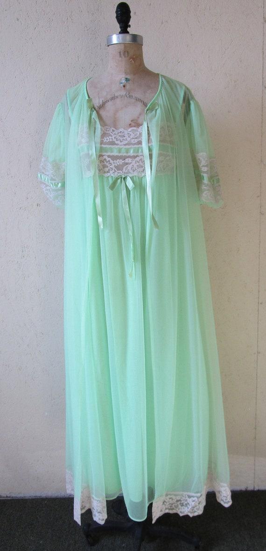 Vintage Lingerie Set Bill Tice Set Nightgown Robe peignoir Blue NOS Medium