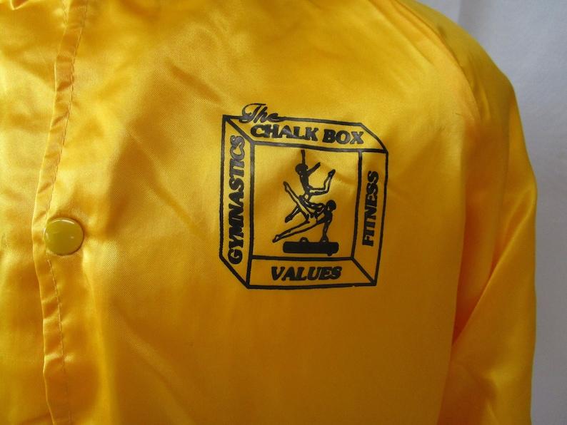 Vintage WestArk Gold Satin Bomber Jacket 1970/'s-80/'s The Chalk Box Gymnastics Team Snap Front Jacket Size M Made in USA