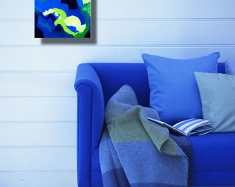 Small modern abstract contemporary espressionist painting in blues and greens