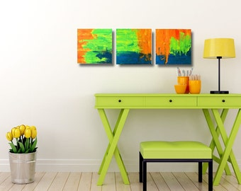 Modern set of three contemporary art small modern paintings in orange, green & blue.