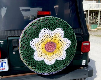 Crochet Spare Tire Cover for SUV, RV, Jeep, Samurai, Big and Small Campers - READY to Ship